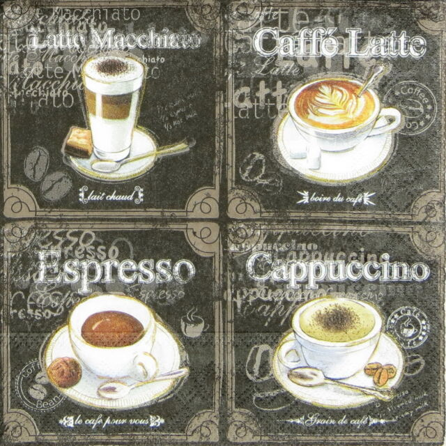 4x Types of Coffee Paper Napkins for Decoupage Decopatch Craft