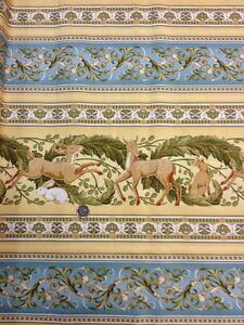 100-Cotton-quilting-craft-Fabric-Flora-amp-Fauna-Deer-Rabbit-Fox-Benartex-Stripe