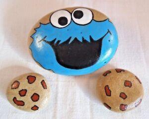 Hand painted rocks stones pebbles Pebble art Cookie monster painted stone - Redcar, United Kingdom - Hand painted rocks stones pebbles Pebble art Cookie monster painted stone - Redcar, United Kingdom