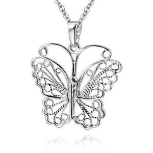 Kette mit Anhänger Schmetterling Kettenanhänger Edelstahl lila türkis pink