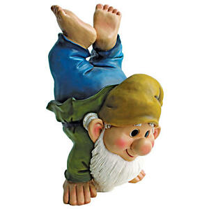 Handstand-Henry-The-Garden-Gnome-Design-Toscano-10-034-Hand-Painted-Statue