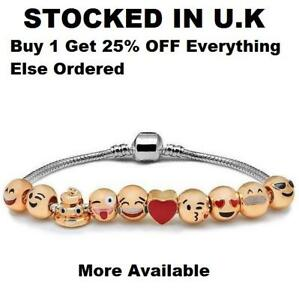 4d76fe52c94bf Details about Emoji Jewellery Gold Silver Smiley Face Mobile Phone Bracelet