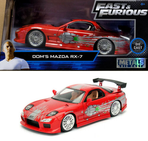 Mazda RX-7 Fast /& Furious Dom F8 and Rot Red 1:24 Jada Toys 98338