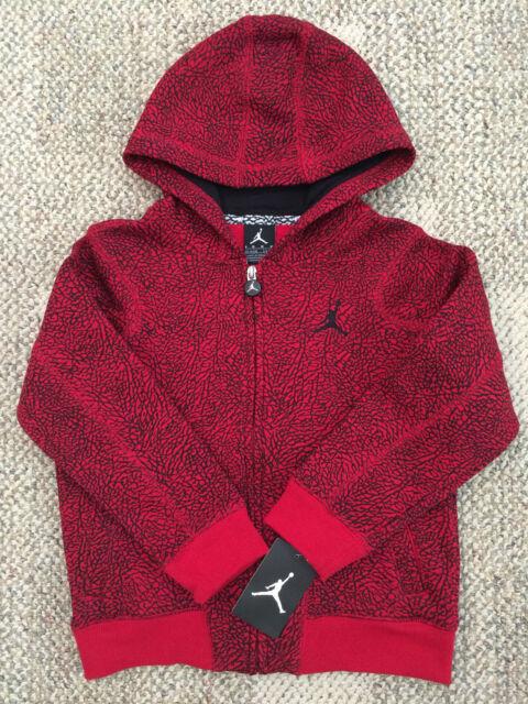 3a6c0dab829fa3 Boys 5 6 Nike Jumpman Jordan Hoodie Zip Front Sweatshirt Red Black Jacket  851382