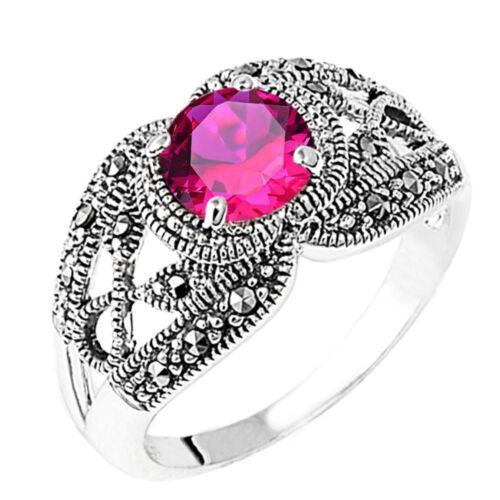 Round Cut w Side Black Onyx Marcasite Birthstone Infinity Sterling Silver Ring