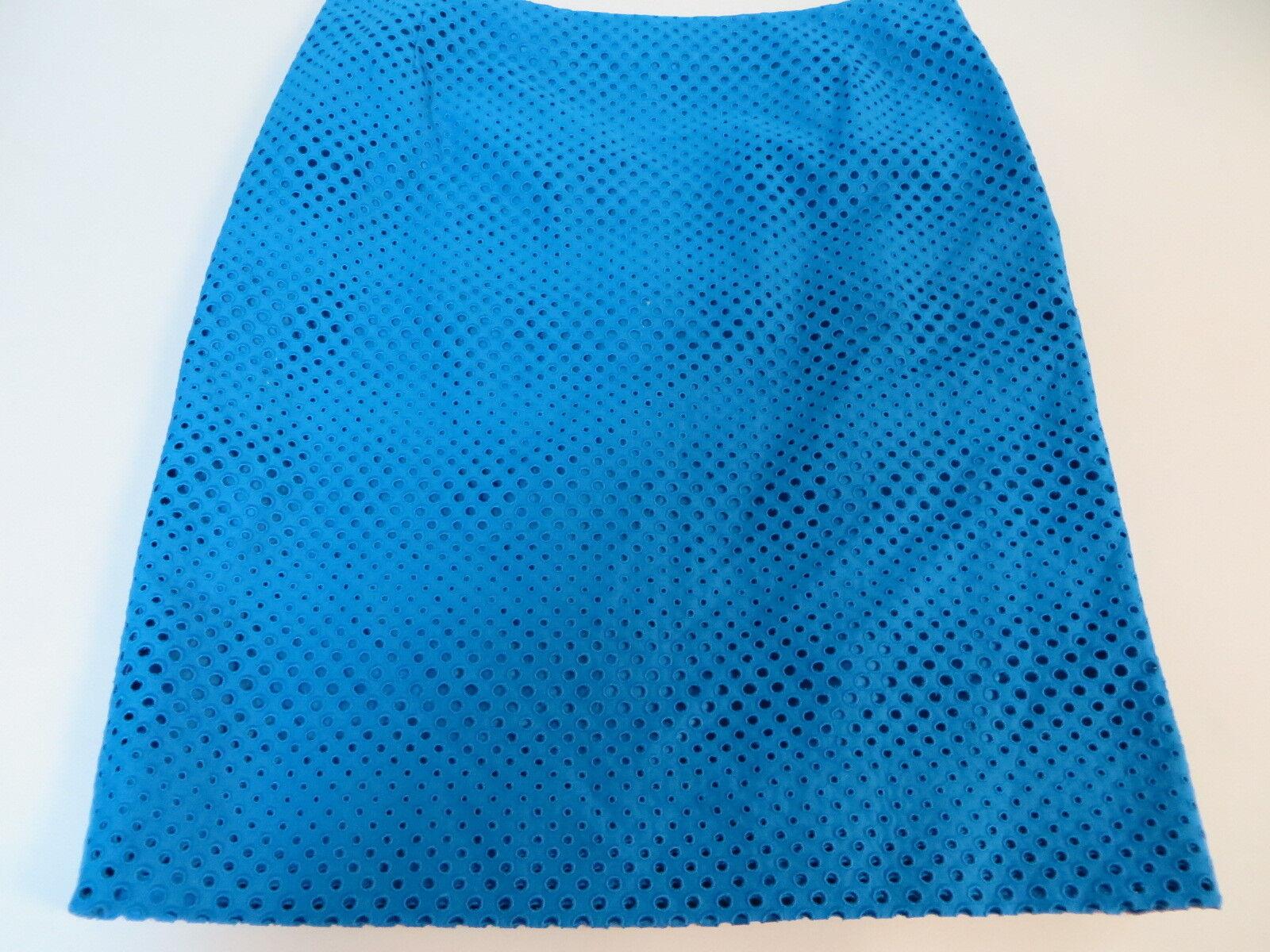 595 NWT AKRIS  bluee Embroidered Eyelet Cotton Pencil Skirt   10  42
