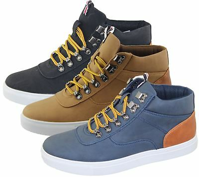 Mens Lace Up Boots Combat Hiking Work High Top Ankle Shoes Size