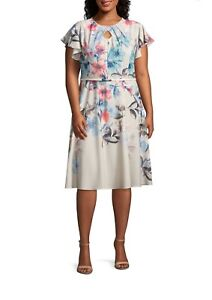 30a5d58cbe Gabby Skye Women s Plus Size Flutter Sleeve Floral Belted Dress