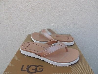 Ugg Lorrie Metallic Rose Gold Leather Imprint Flip Flop