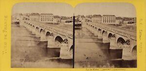 Saumur-Pont-sur-la-Loire-France-Photo-Stereo-BK-Paris-Vintage-Albumine-ca-1870