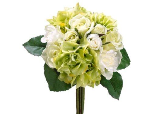 11 Artificial Rose & Hydrangea Bouquet Green Cream (pack of 6) Silk Flower