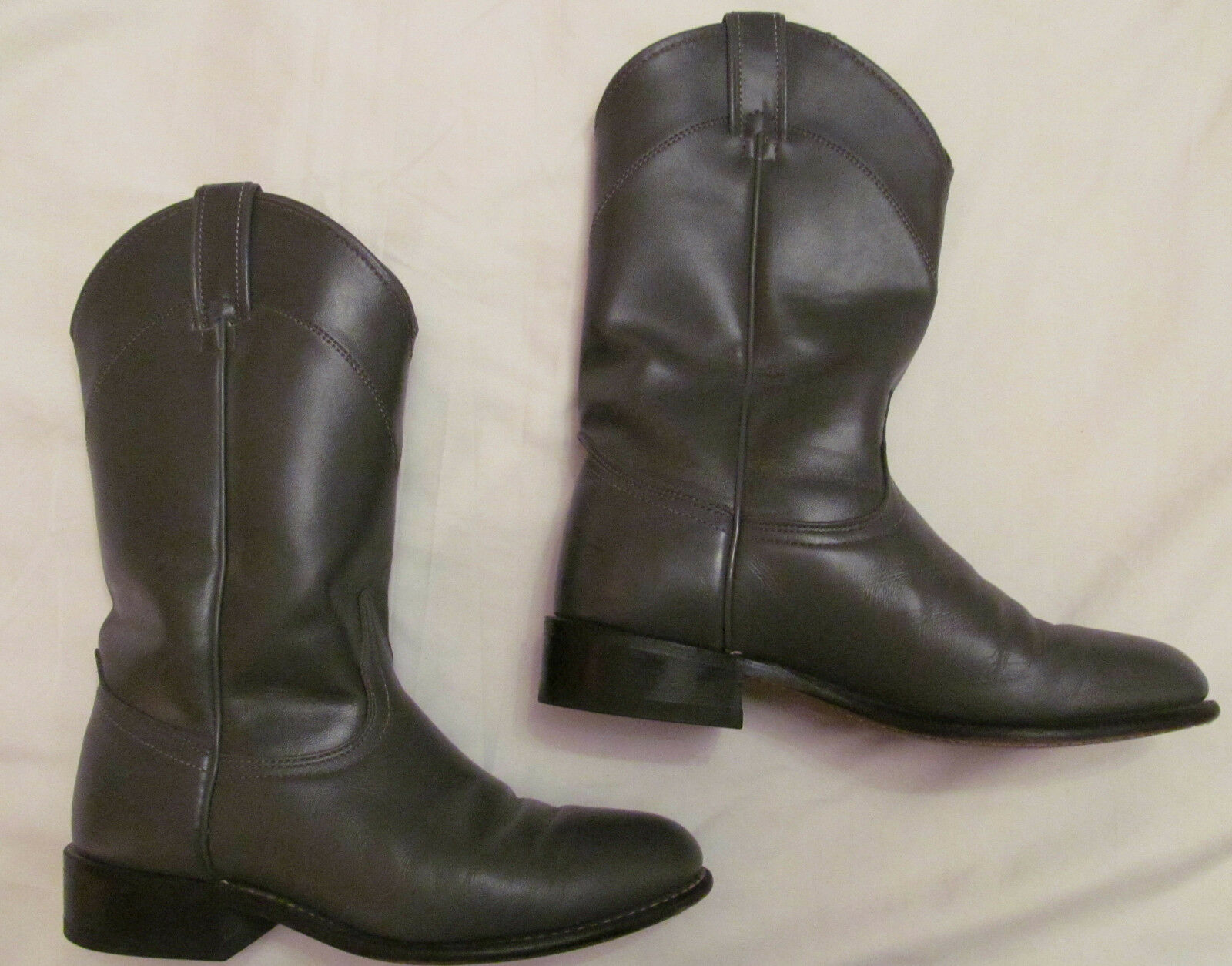 Vintage Larojoo Pulido gris Cuero Cowboy Cowgirl botas 6,5 m Excelente