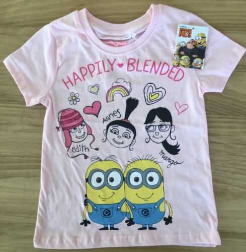Girls Light Pink Short Sleeve T shirt with Minions detail age 3-4 years