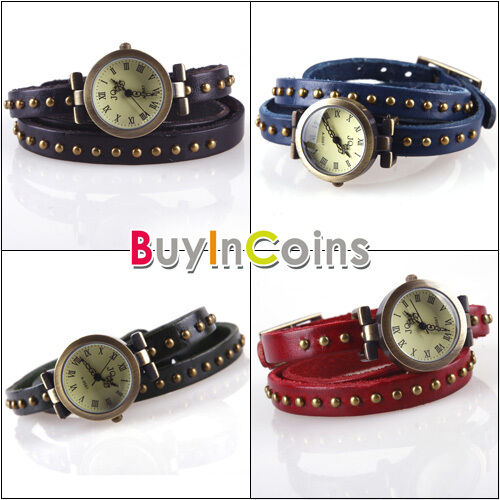 Exquisite Elegant Rivet Studded Wrap Around Leather Bracelet Wrist Watch Woman