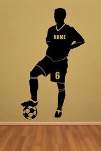 Wandtattoo-Wandaufkleber-Fussball-Fussball-Fussballspieler-Wunschname-Name-Zahl