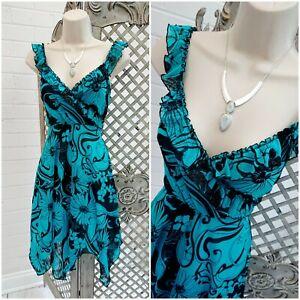 JANE NORMAN  UK 14 Y2K 00s Teal Sheer Floral Fit & Flare Milkmaid Dress Summer