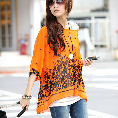 L/XL Cause  Sexy Womens Batwing Sleeve Chiffon Shirt Bohemian Oversized Blouse