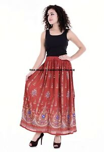 ce66f098a0 Image is loading Indian-Rayon-Embroidered-Sequins-Red-Skirt-Elastic-Hippie-