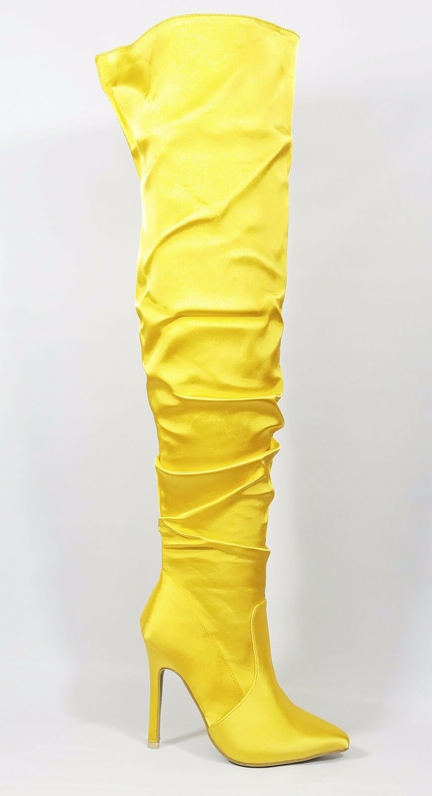 Athena Yellow Satin Slouchy Shaft Pointy Toe OTK Thigh Boot High Heel 6.5-11