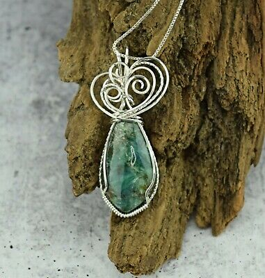 Green Chrysocolla pendant ~ Wire wrapped ~ Sterling Silver Wire ~ Handmade Jewelry ~ Necklace