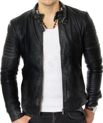 Giacca Slim pelle Genuine elegante nera da in New Retro uomo Fit Vintage qT0xar4qwn