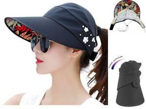 Wide Brim Sun Women Hats Summer Beach Visor Cap Anti-UV UPF 50+ ... 1ca1a7c65a7