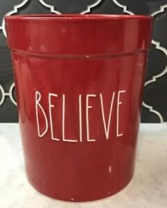 Rae-Dunn-BELIEVE-Red-LL-Crock-FREE-SHIPPING