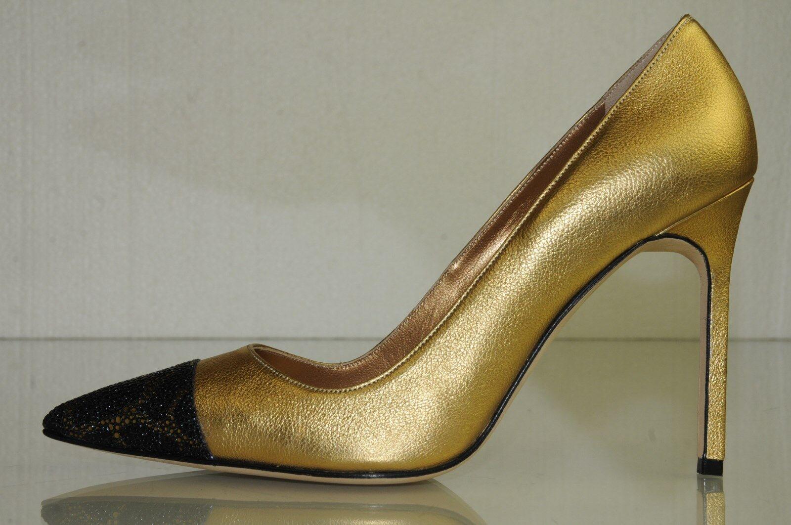 Neu Manolo Blahnik Bb Bipunta 105 Gold Schwarz Schwarz Schwarz Teufelsrochen Schuhe Pumps 35.5 45de41