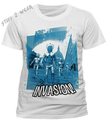 Official Dr Who Cyberman Invasion T Shirt White Large