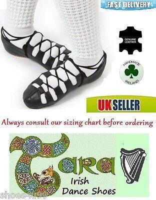 Bombas De Cuero Pomps Baile Irlandés Zapatos Suela De Gamuza Negra Tara suave acolchado