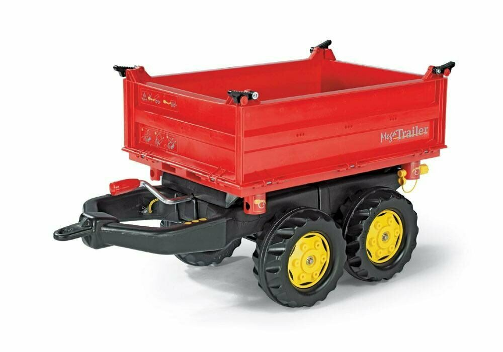 Rolly Toys Anhänger Mega Mega Mega Trailer Dreiseitenkipper rot gelbe Felgen 123001 NEU 0225b0
