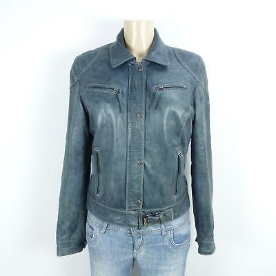 OAKWOOD Lederjacke Leather Jacket Blau Petrol Gr. L 40 | eBay