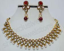 Designer Gold Plated Kundan Diamonds Necklace Earring Ethnic Party Jewellery Set