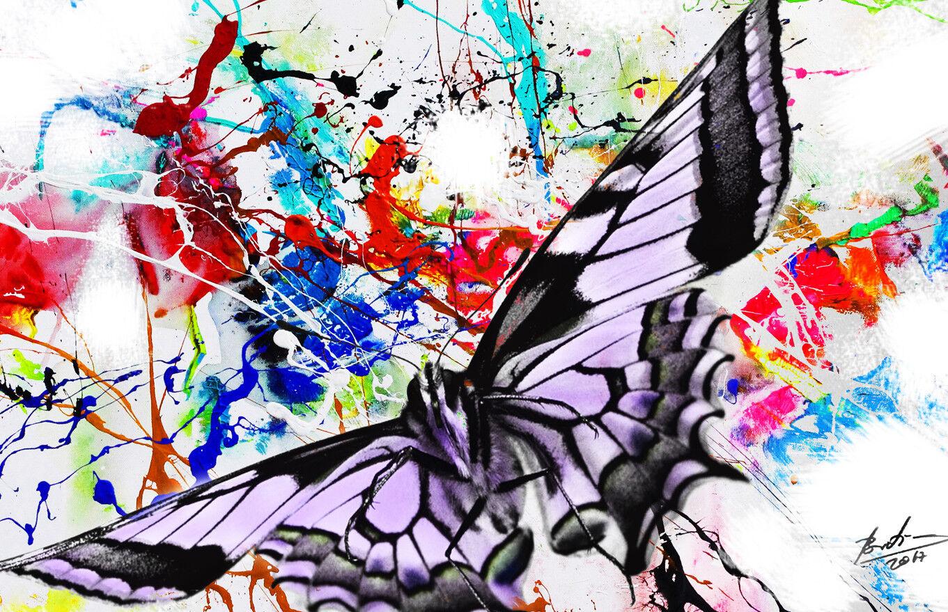 Abstrait Papillon la Butterfly Images sur toile la Papillon fresque art XXL 2282 a bec597