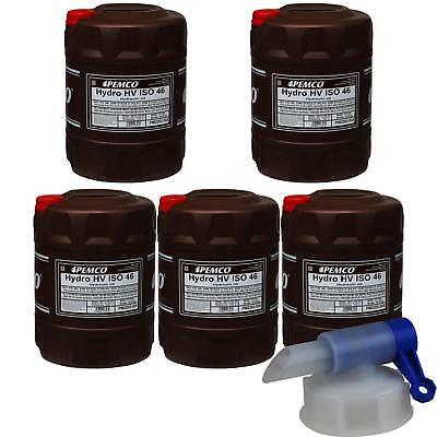 5x 20 Litro Pemco Olio Idraulico Hydro Hv Iso 46 Hkp 68 Oil Incl. Rubinetto I Colori Stanno Colpendo