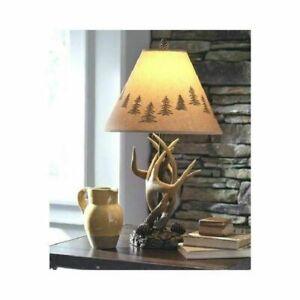 Night Stand Lamp set 2 Mountain Rustic Antler Cabin Lodge ...