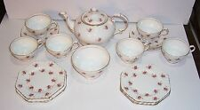 STANLEY FINE BONE CHINA TEA POT - 6 CUPS AND SAUCERS - 6 OCTAGON PLATES -1 BOWL