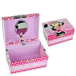 PINK MINNIE MOUSE GIRLS CHILDRENS MUSICAL ROTATING JEWELLERY BOX