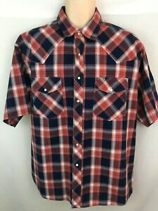 Rustler-by-Wrangler-Men-039-s-Western-Snap-Front-Shor-Sleeve-Shirt-Red-Blue-Plaid-XL