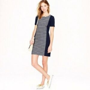 J. Crew Style A3446 Short Sleeve Dark Blue Striped Knit Shift Dress Women's 12