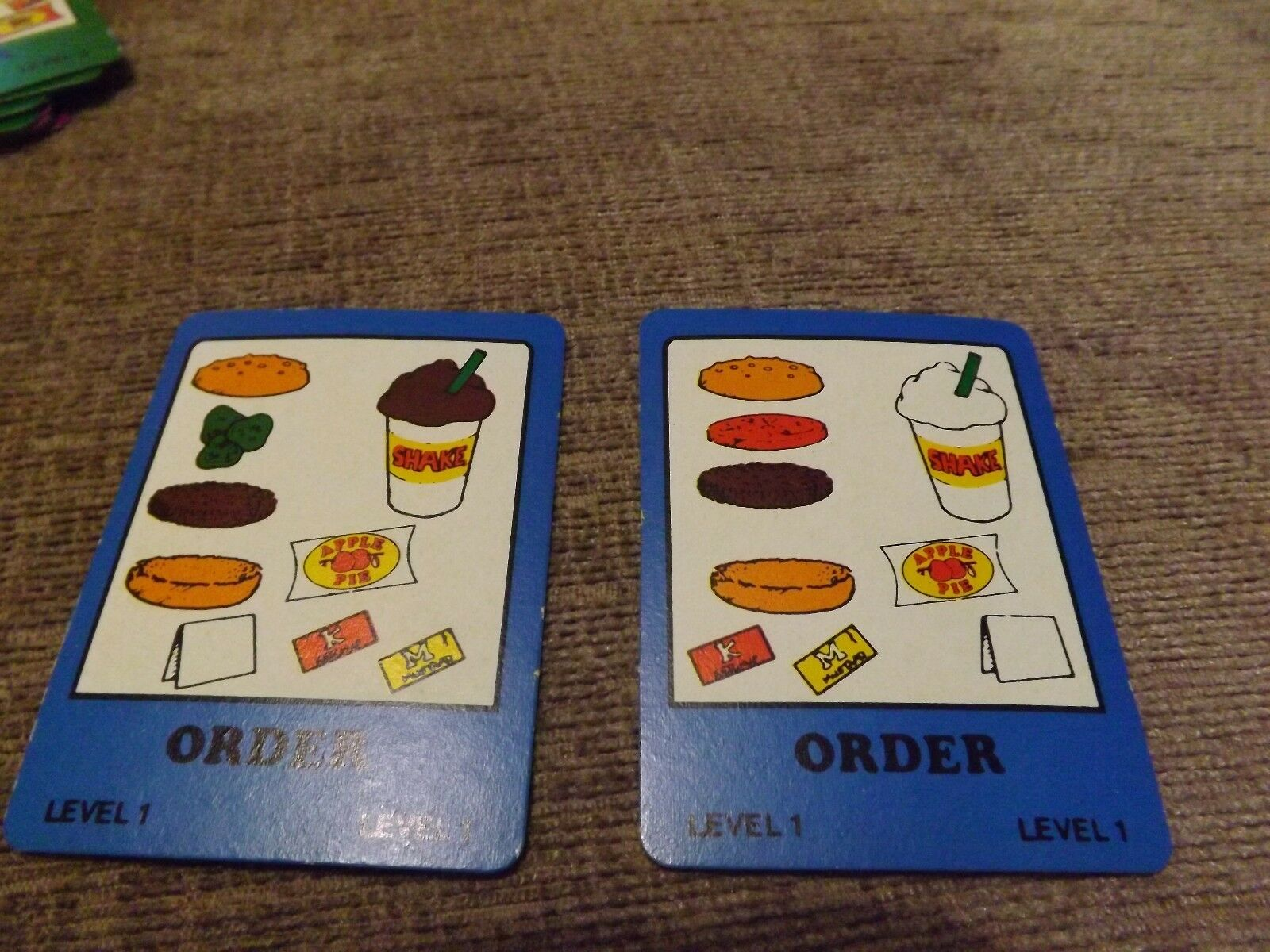 SPARES 1984 FOR VINTAGE 1984 SPARES BUILD A BETTER BURGER GAME ACTION GT Blau ORDER CARD 1 972bd0