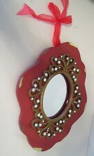 RED DISTRESSED WOOD JEWELED MIRROR SHABBY DECOR GIFT WALL DECORATION