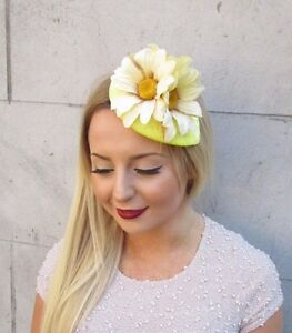 Lemon Yellow Cream Daisy Flower Fascinator Teardrop Races Vtg Hair Clip 2571