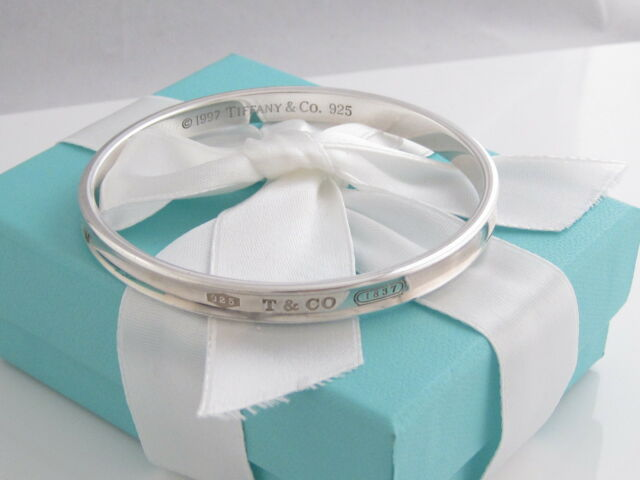 Rare Auth Tiffany & Co Silver 1837 Bangle Bracelet Box Included