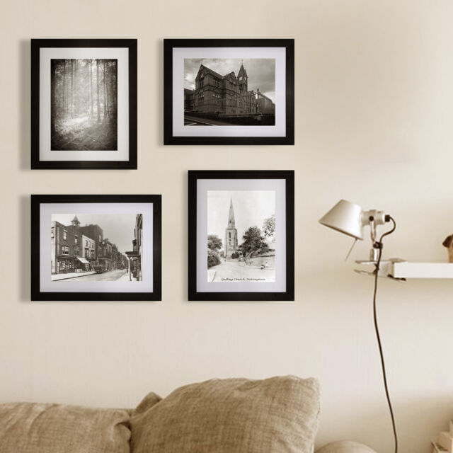 4pcs Picture Photo Frame Wall Mount Hanging Display Home Decor Modern Art Black