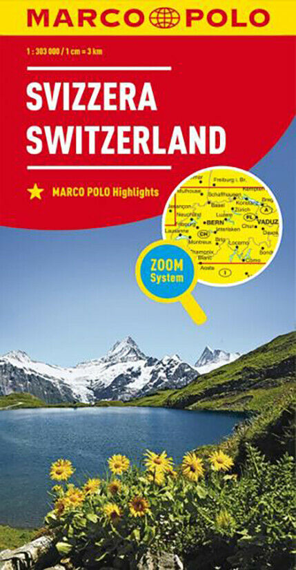 Svizzera Cartina Stradale.Svizzera Cartina Stradale Scala 1 300 000 Mappa Carta Poster Marco Polo Ebay