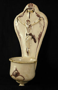 Antique Stoup Earthenware Enamelled XIX ° Glazed Holy Water Font 8 5/16in