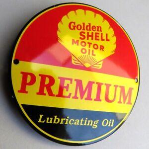 Golden SHELL = Tür Emailschild MAKELLOS Auto Tankstelle Benzin Motor Oil PREMIUM