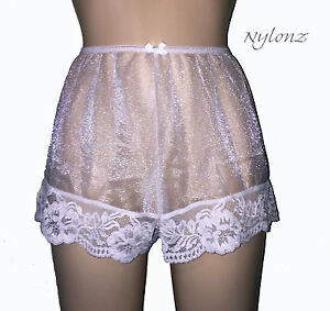 1f60d9c71e3 Image is loading NYLONZ-Sheer-100-Nylon-FRENCH-KNICKERS-Panties-WHITE-
