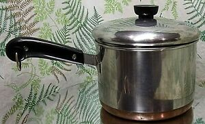 REVERE-WARE-3-QUART-STOCK-PAN-POT-COPPER-BOTTOM-1801-COOKWARE-WITH-LID
